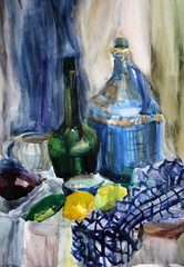 still life watercolor painting the kettle