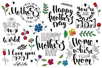 Mother's day brush pen handwritten lettering set