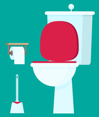Toilet flat vector illustration