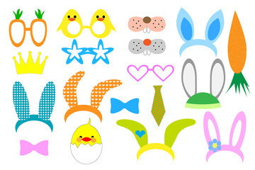 Easter photo booth and scrapbooking vector set. Set of Easter Party graphic elements. Vector illustration Mask, Photobooth Props.