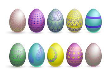 glitter easter eggs on a white background