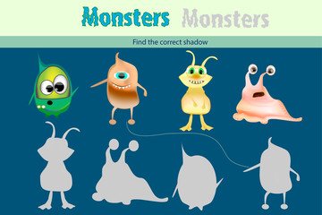 Education game for children. Find the correct shadow with monster,