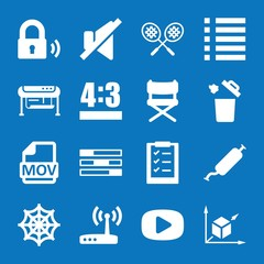 Set of 16 web filled icons