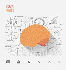 Brain power ideas concept with creative thinking drawing charts and graphs strategy plan, Vector illustration modern layout template design