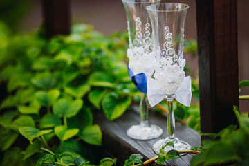The luxury glass stands near bushes