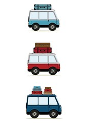 Cartoon minibuses with suitcases