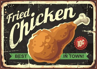 Fried chicken retro sign design concept