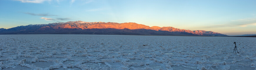 A beautiful sunrise seen from Badwater Basin in Death Valley National Park, California.