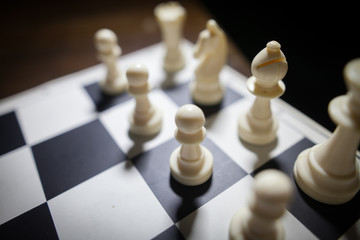 White pieces on chess board
