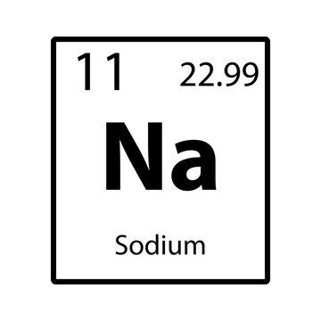 Sodium periodic table element icon on white background vector
