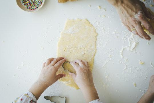 Sisters making cookies