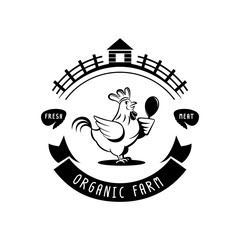 organic farm chicken meat logo