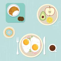 Healthy breakfast, food concept vector set