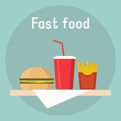 Illustrations soda , hamburger french fries. junk food