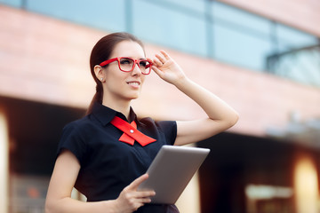 Businesswoman with Pc Tablet and Red Frame Glasses