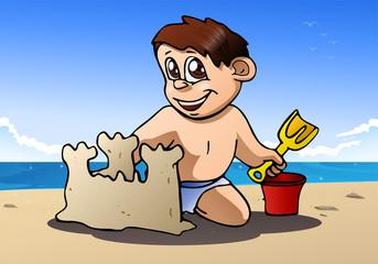 boy play build sand castle