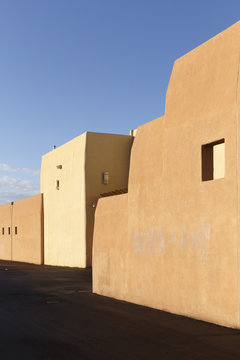 Santa Fe, New Mexico, USA. The rear of a retail building in Santa Fe. Particular architecture and material usage can be seen here.