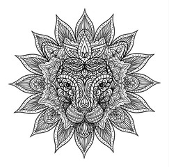 outline lion mandala