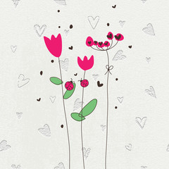 Greeting card. Spring flowers. Stone background with engraving. Concrete background.