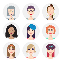 Vector set of various women faces, avatars.
