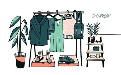 Vector illustration showroom. Coat rack with clothes, bags, boxes and shoes, fashion, modern style. Colorful.