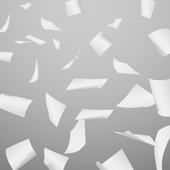Abstract vector background with flying, falling, scattered office white paper sheets, documents