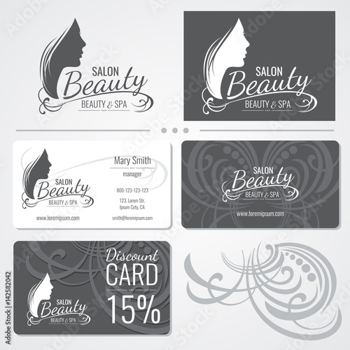 Beauty salon vector business card templates with beautiful woman beauty salon vector business card templates with beautiful woman face silhouette logo fbccfo Images