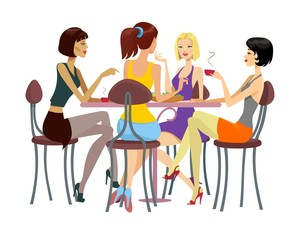 Women chatting at the cafeteria
