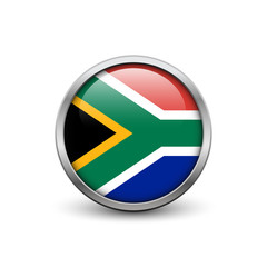 Flag of South Africa, button with metal frame and shadow