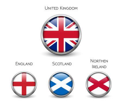 United Kingdom flag -England, Scotland, Ireland. Union Jack. Buttons with metal frame and shadow