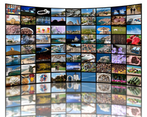Video wall concept made of a lot of different photos representing LCD or LED TV