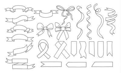 ribbons hand drawn vector set art illustration