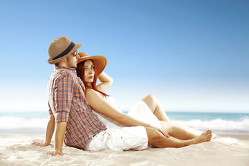 summer time and lovers on beach