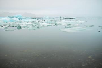 Line of Iceland Ice Blocks