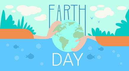 Hand Hold Globe Earth Day Global Ecological World Protection Holiday Concept Flat Vector Illustration