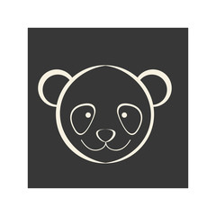 black square picture of bear animal, vector illustration