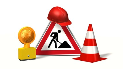 Construction site, construction site sign with pylons  safety helmet and warning light isolated on white