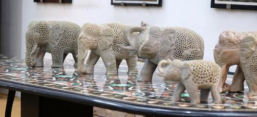 Handcrafted Indian elephant display at souvenir shop in Agra, Uttar Pradesh, India