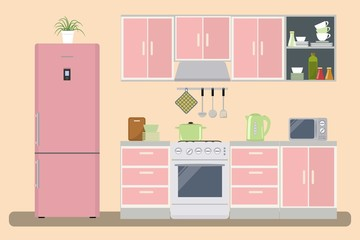 Kitchen in a pink color. There is a kitchen furniture, a refrigerator, a microwave, a kettle and other objects in the picture. Raster