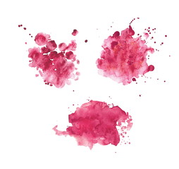 Pink realistic watercolor spots set.