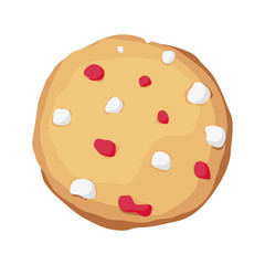 Christmas cookies. With white chocolate and red fruits. Choco cookie icon. Vector illustration