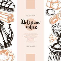 Delicious Coffee - color hand drawn composite banner.