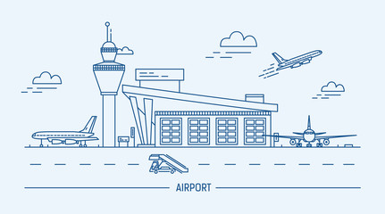 Airport, aircraft. Lineart black and white vector illustration with air terminal and airplanes.
