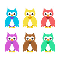 owl cartoon colorful set isolated vector