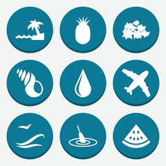 Set of 9 nature filled icons