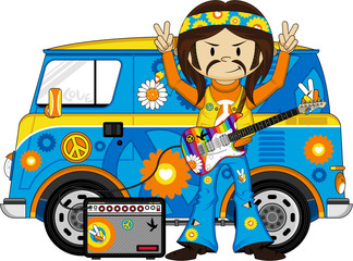 Cartoon Hippie Guitarist and Camper Van