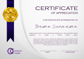 Qualification Certificate of appreciation, geometrical design. Elegant luxury and modern pattern, best quality award template with white and golden tapes, shapes, badge. Vector illustration