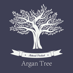 Natural tree with foliage, argania and argan plant