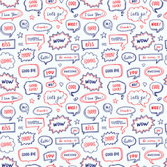 Hand drawn seamless pattern of speech bubbles with dialog words