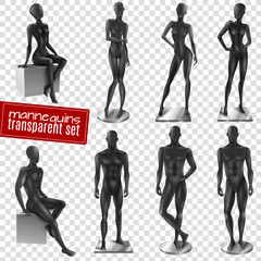 Mannequins Black Realistic Transparent Background Set
